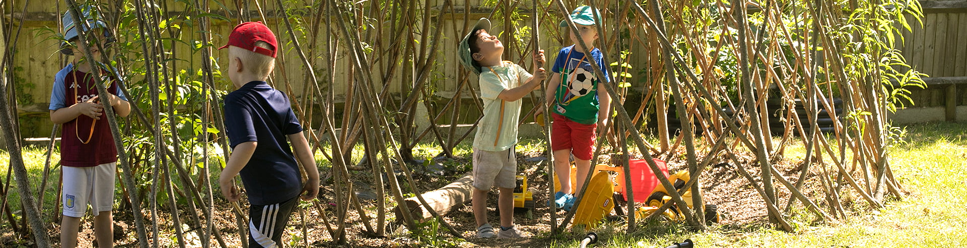 Boys playing in the Jigsaw Garden